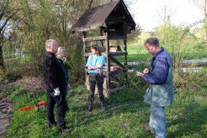 Lagebesprechung vor dem Abbau des alten Wildbienenhotels